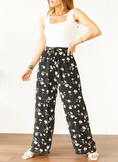 XHAN Siyah & Beyaz Çiçek Desenli Beli Lastikli Dokuma Pantolon 0Yxk5-43894-02 Siyah